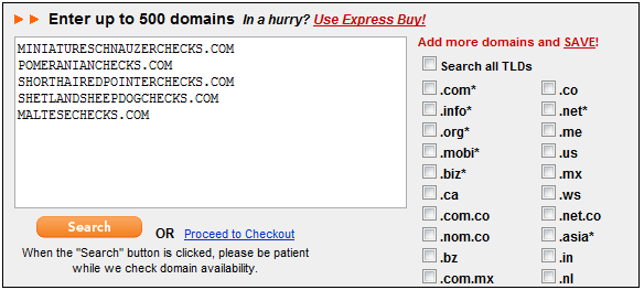 Results of which domains are still available